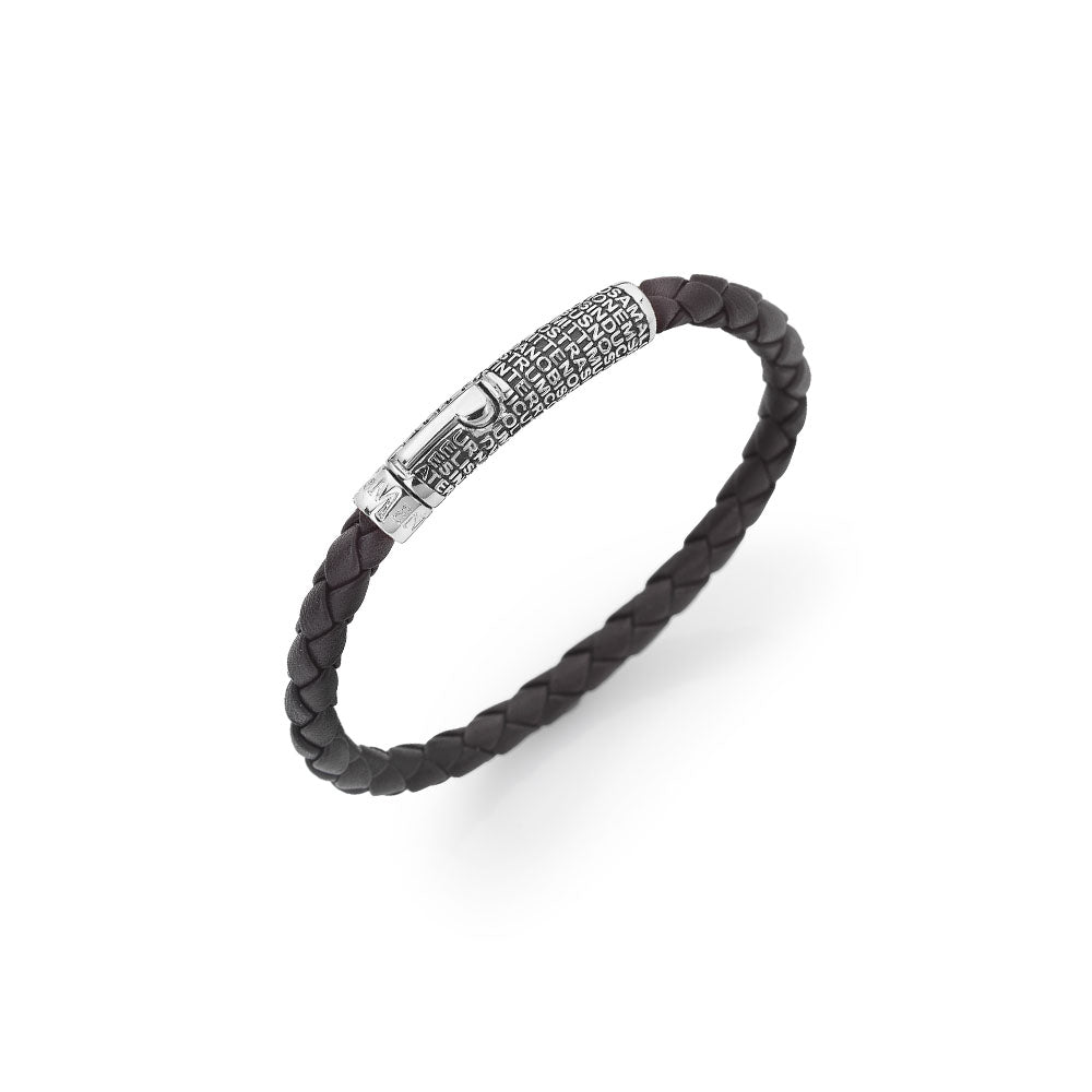 925 SILVER LEATHER BRACELET WITH PATER NOSTER (6232043487388)