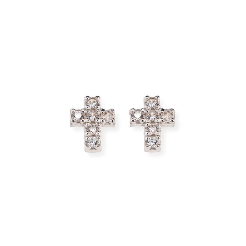925 SILVER EARRINGS CROSS WITH STONES (6143427575964)