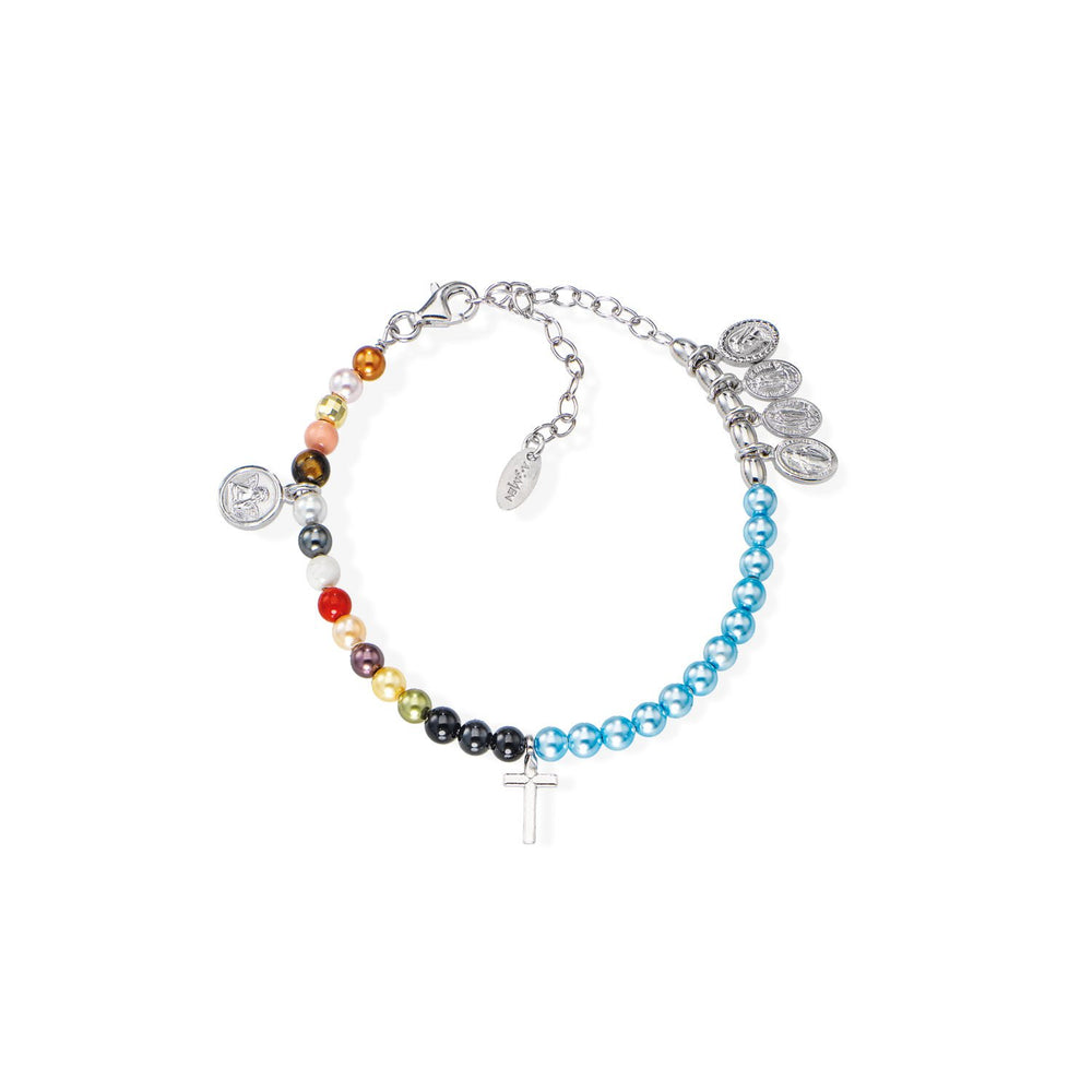 925 SILVER BRACELET WITH PEARLS AND SWAROVSKI MULTICOLOR (6143431835804)