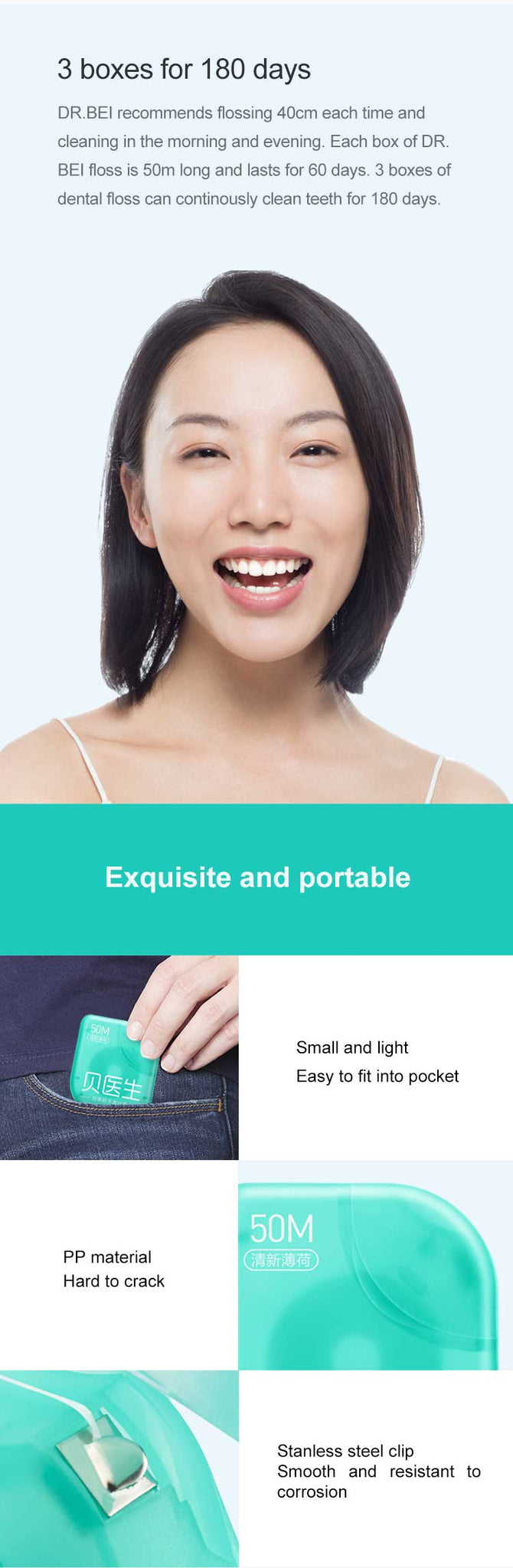 DR.BEI Dental Floss, 50m, 3 cases  Xiaomi Youpin DR.BEI Dental Floss Portable Teeth Clean Flosser Toothpicks Dental Oral Care Teeth Hygiene Soft Flosser 50M /Box Cleaning Tools