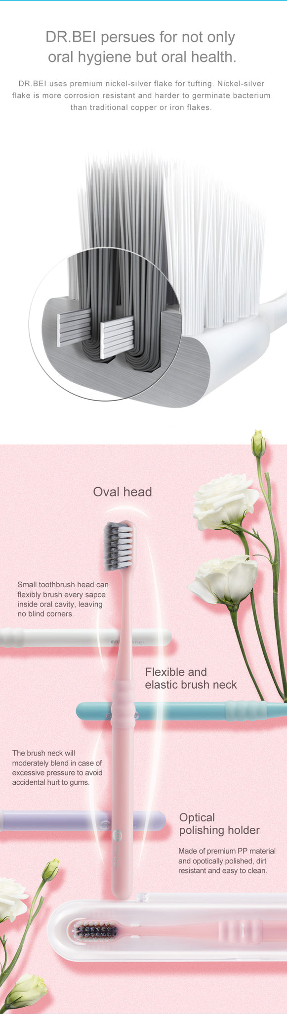 DR.BEI Bass Toothbrush, 4 Pieces (Comfort) Xiaomi Youpin DR·BEI Portable Deep Cleaning 4 Colors Toothbrush With Travel Box Dental Oral Care Soft Toothbrush Oral Hygiene Xiaomi Youpin