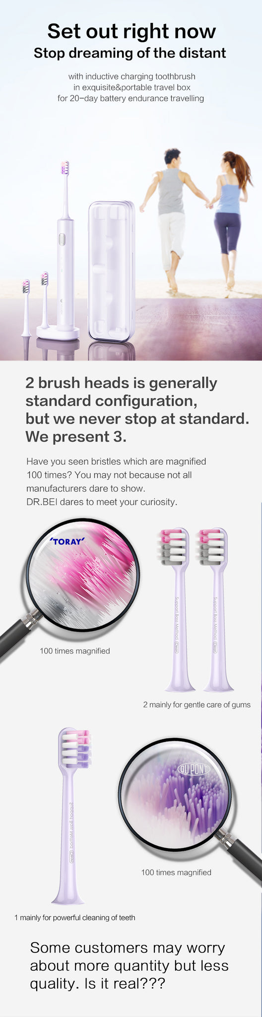 DR.BEI Violet Gold Sonic Electric Toothbrush BET-S01 Xiaomi Youpin DR.BEI BY-V12 Sonic Electric Toothbrush Portable 3 Models Soft Electric Tooth Brush IPX7 Rechargeable Adults Tooth Cleaner