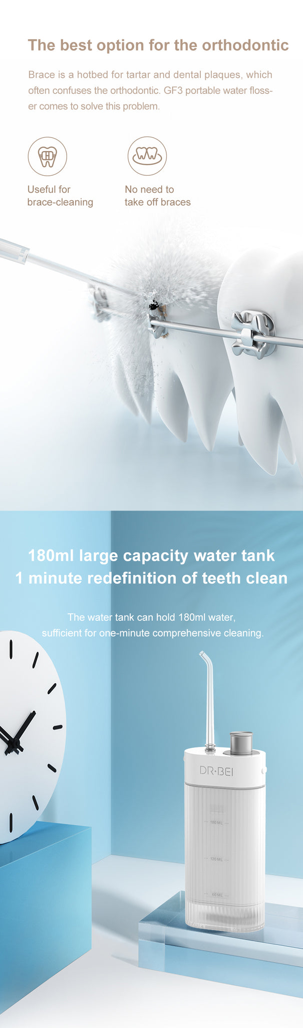 DR.BEI GF3/F3 Portable Dental Water Flosser  Xiaomi Youpin DR.BEI F3 Oral Irrigator Water Flosser Cordless Dental Water Jet Tank Portable Rechargeable Waterproof 3 Modes Teeth Cleaner
