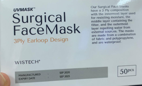 Mask with expiry date printed