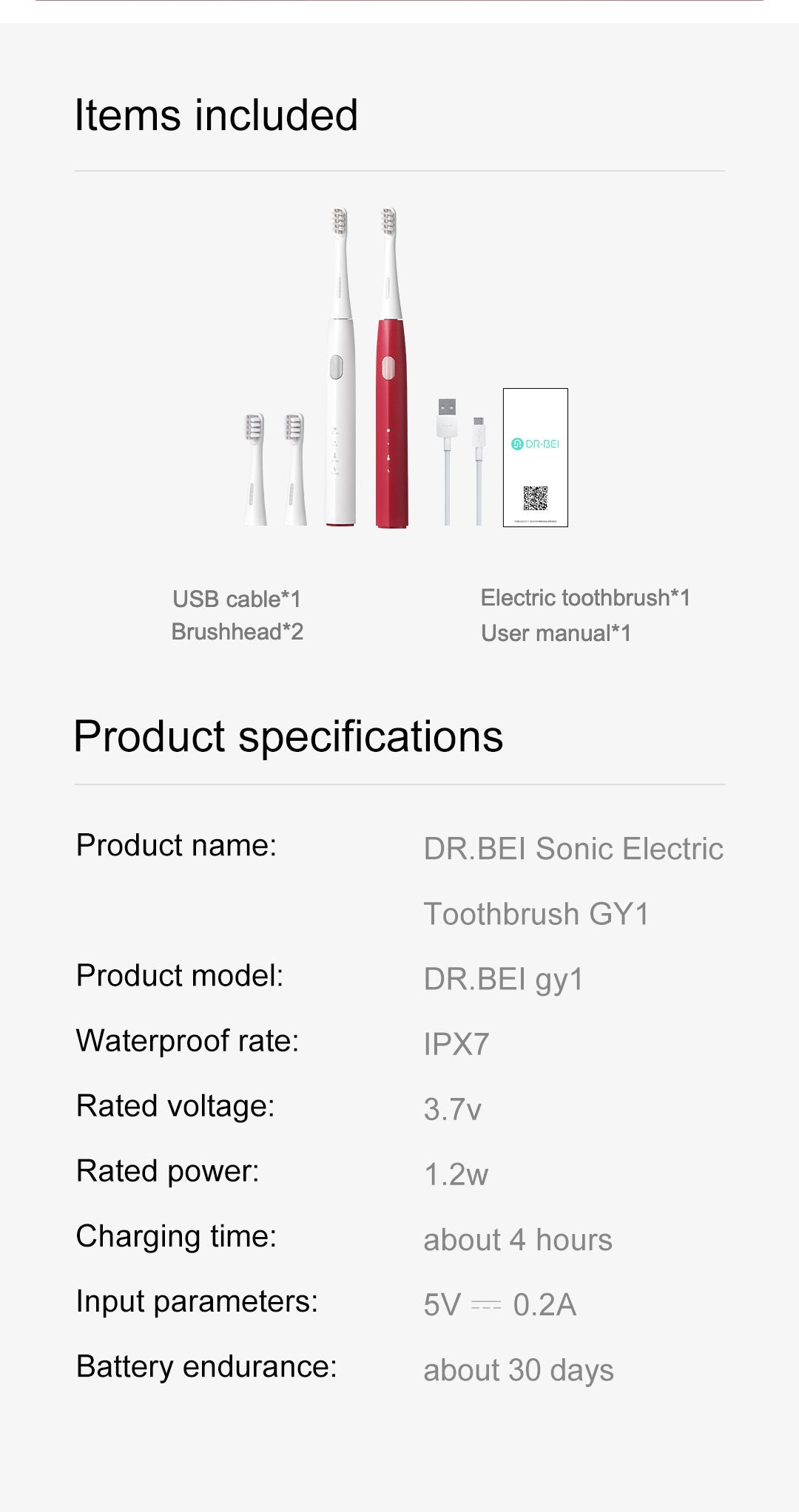 DR.BEI GY1 Sonic Electric Toothbrush Xiaomi Youpin DR·BEI GY1 Ultrasonic Electric Toothbrush 3 Modes 2 Mins Timer Rechargeable Whitening IPX7 Waterproof ToothBrush for Adults