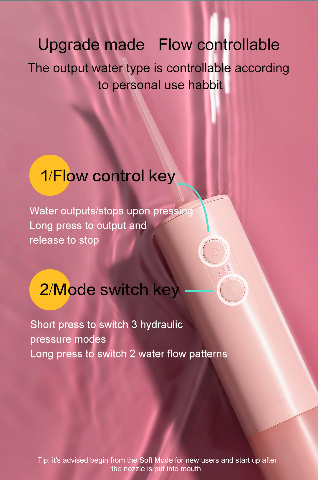 DR.BEI F2 Portable Dental Water Flosser  Xiaomi Youpin DR.BEI Portable Water Flosser F2 Oral Irrigator Cordless Dental Water Jet USB Rechargeable IPX7 Irrigator for Cleaning Teeth