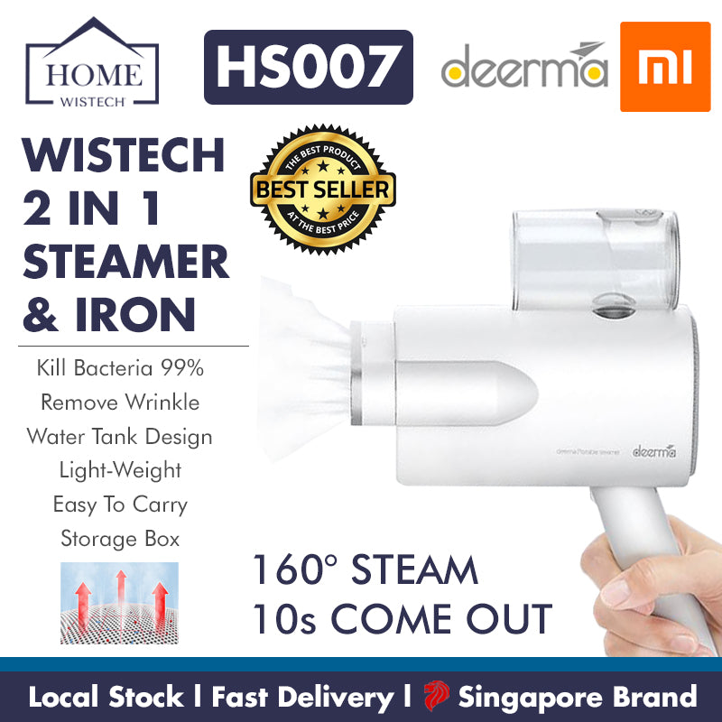 Deerma HS007 Portable 2 In 1 Steamer & Iron Handheld Foldable [Wistech Home] - Wistech Home - Wistech Singapore