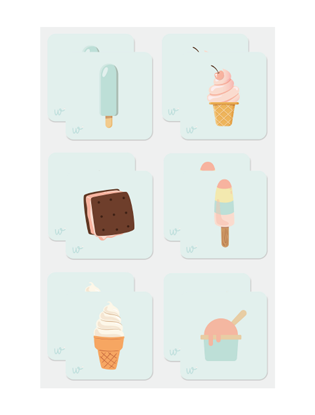 MEMORY EDUCATIVO DE HELADOS - ICE-CREAM MEMORY