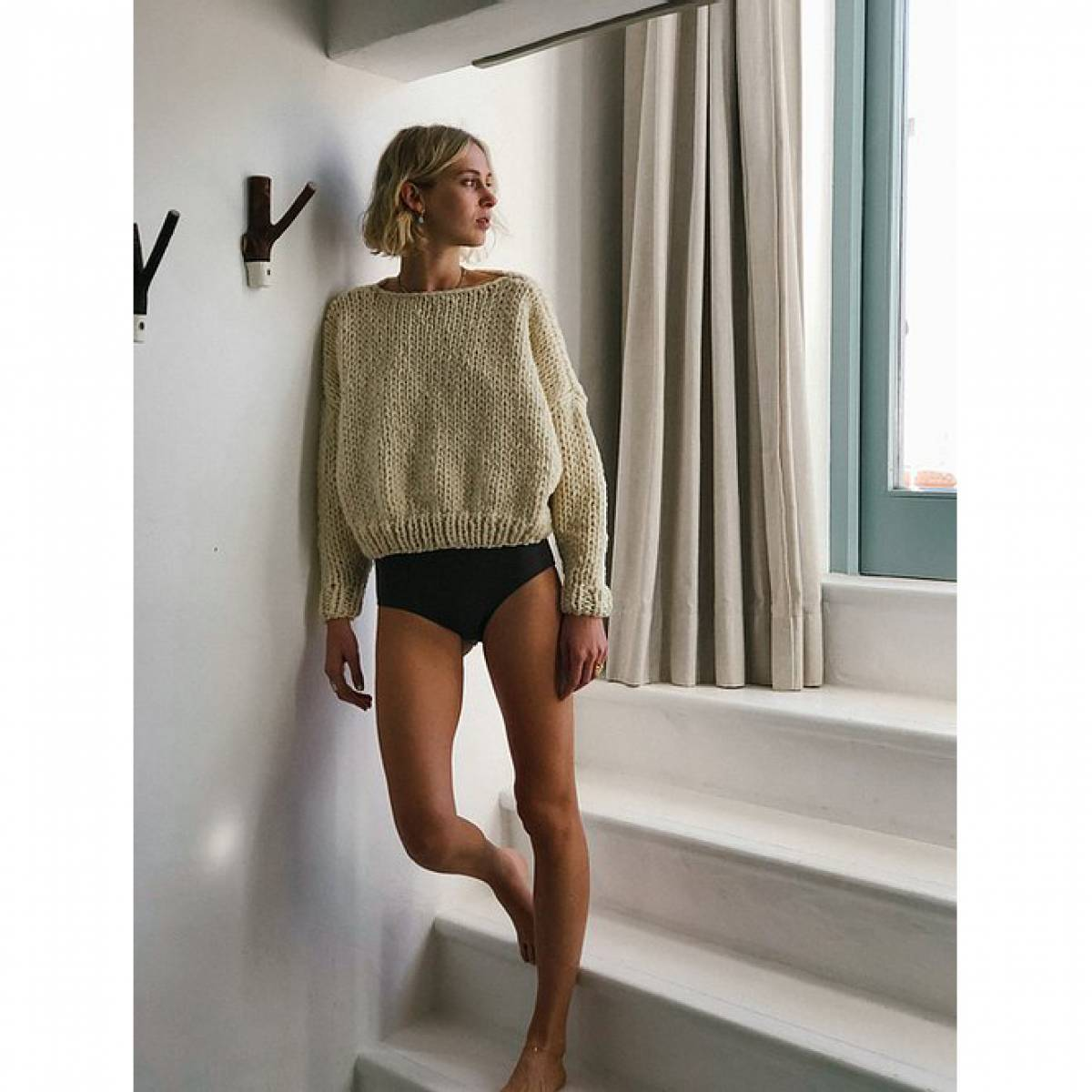 HAND KNITTED CATHERINA WOOL SWEATER CRUDO