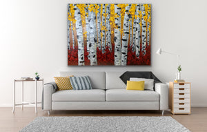 Palette knife, aspen tree painting, thickly textured. Perfect for decorating a wall at home or office space.