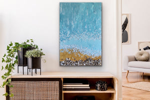 Palette knife beach and wave piece with thick textures, real sand and sea shells. This piece will take you back to your favorite beach while in your home or at the office.