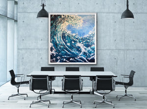 Palette knife, water wave painting, thickly textured. Great for an office space or coastal home.