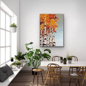 Palette knife, fall aspen painting, thickly textured. A perfect pop of color for your home or office space.
