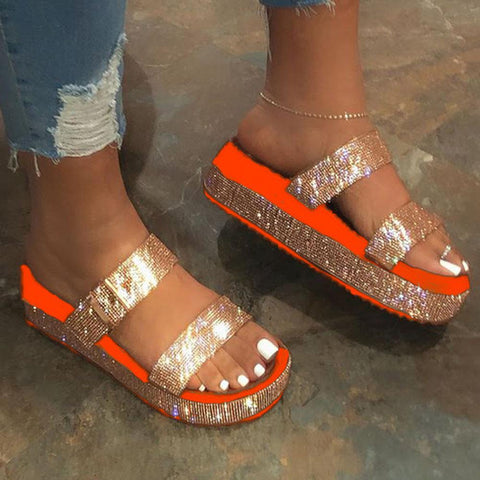Women's large slippers, Sequin sandals
