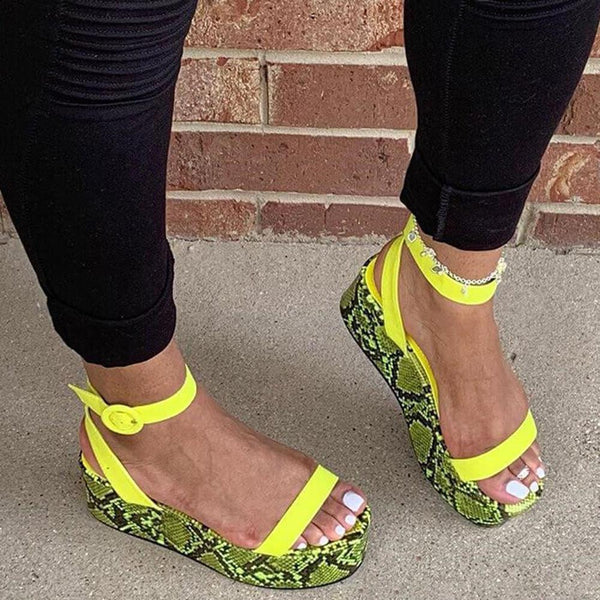 Retro color serpentine one word sandals with women's shoes thick bottom Roman printed sandals