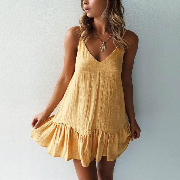 V-neck zipper mini dress