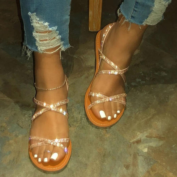 Buckle Strappy Open Toe Flat With Rhinestone Sandals