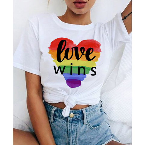 LOVE WINS Rainbow print women's T-shirt