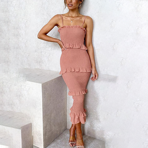 Fashionable pleated suspender cake dress