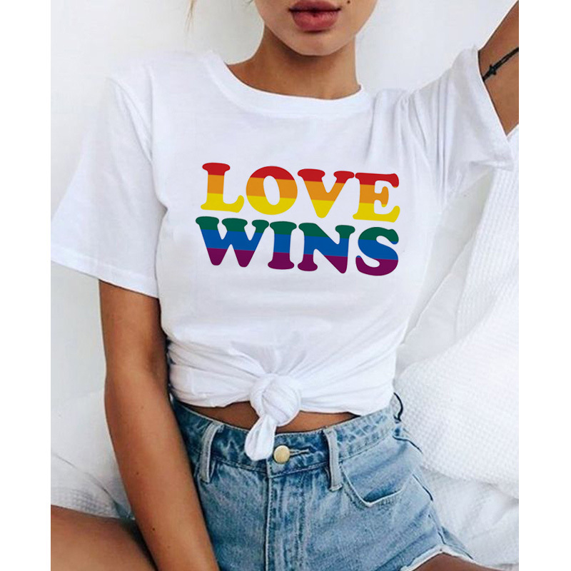 Rainbow print women's T-shirt