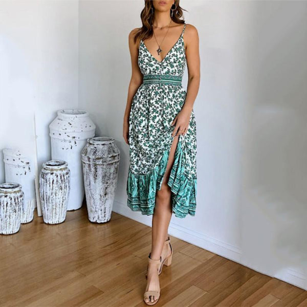 Printed strapless strapless waist dress