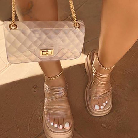 Fashionable crystal thick bottom women's sandals