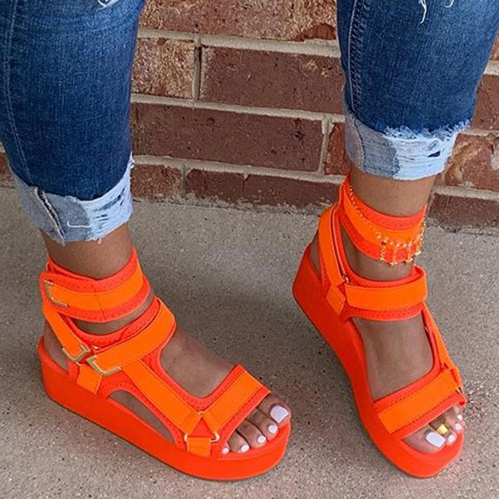 Large sandals women's thick soled muffin soles Velcro Roman women's shoes