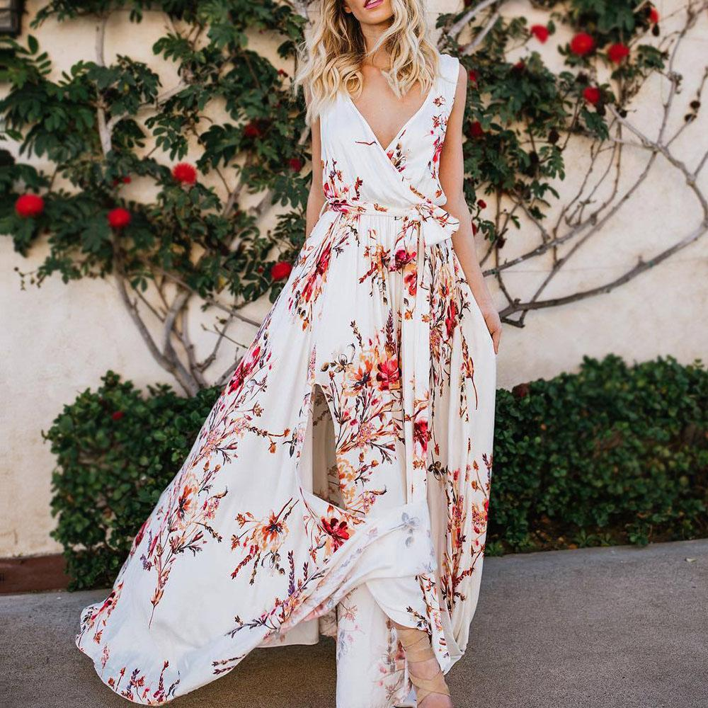 Printed chiffon Bohemia resort beach split dress