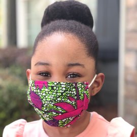Kids Ankara Face Masks With P 2.5 Filters (3 Pack)