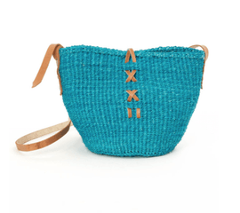 Small Blue Sisal Purse