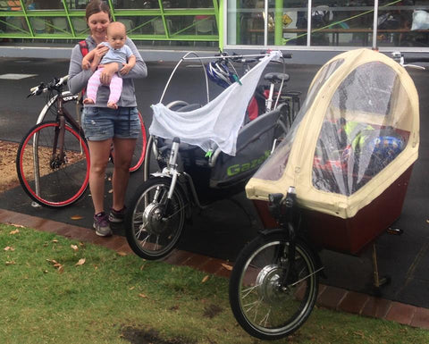 Electric conversion of bakfiets and Gazelle Cabby dutch cargo bicycles