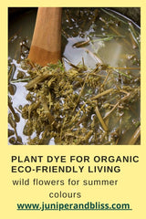 Dye pot with cow parsley for plant based organic textiles for slow living and sustainable fashion.
