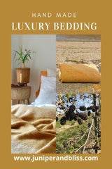 Naturally dyed organic bedding and hand knitted blankets dyed with alder cones by Juniper and Bliss
