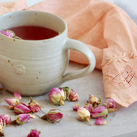 Rose tea and vintage napkin