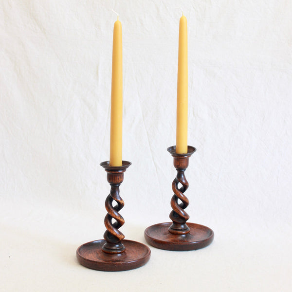 Arts & Crafts Wooden Candlesticks - Open Barley Twist with Brass Cup- Sold Individually - Juniper & Bliss