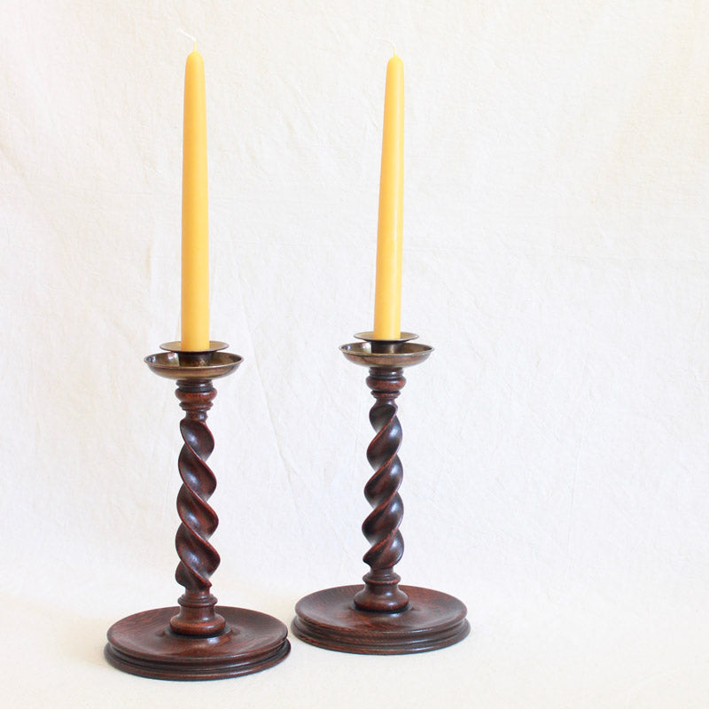 Arts & Crafts Wooden Candlesticks - Closed Barley Twist, Tall - Sold Individually