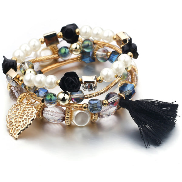Bracelet fantaisie multirangs perles - Bijoux-Fantaisie.shop