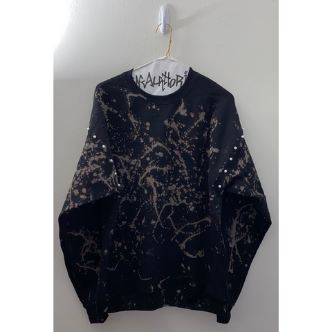Black Bleached Sweatshirt with Pearl Details