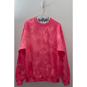Pink Bleached Sweatshirt with Pearl Details
