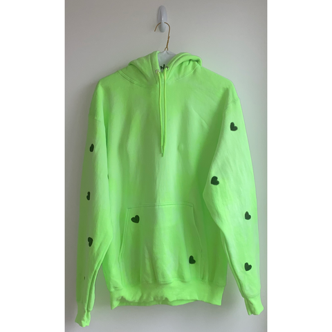 Neon Green Hoodie with Hand Painted Hearts