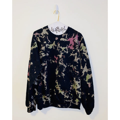 KIDS: Bleached Black Sweatshirt with Pink and Green Neon Splatter Paint