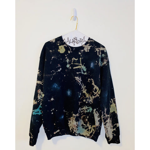 Bleached Black Sweatshirt with Neon Blue & Yellow Splatter Paint