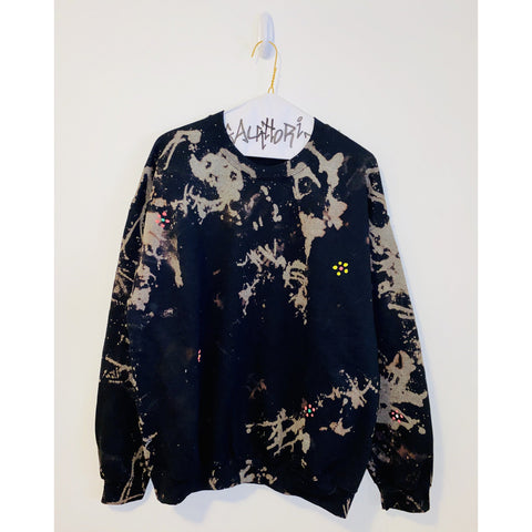 Black Bleach Dyed Sweatshirt with Flowers