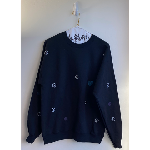 Black Sweatshirt with All Over Hand Painted Peace Signs & Hearts