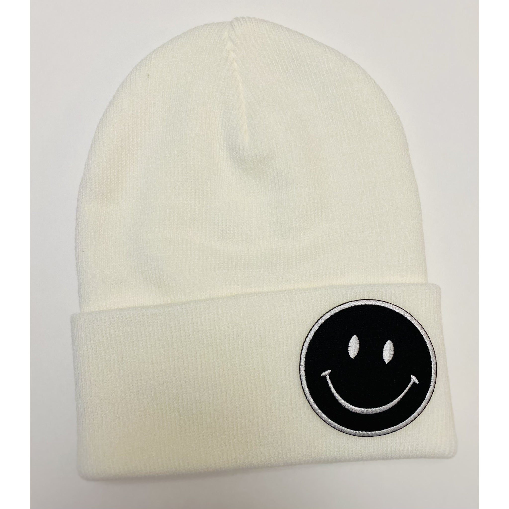 White Retro Smiley Face Beanie