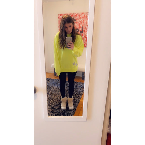 Neon Yellow Sweatshirt with Rhinestone Stars