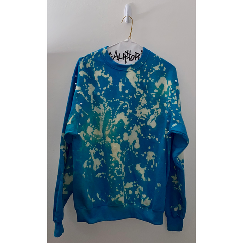 Blue Bleached Sweatshirt with Pearl Details