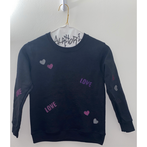 KIDS: Black Love Hand Painted Sweatshirt