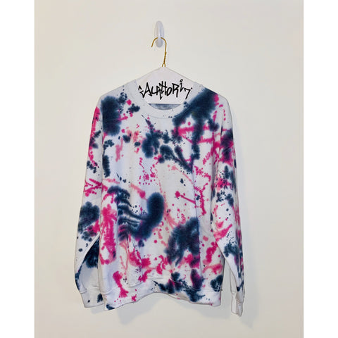 White Sweatshirt with Pink and Black Splatter Paint