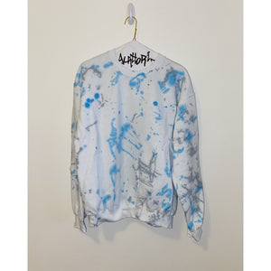 KIDS: White Sweatshirt with Bright Blue and Grey Splatter Paint